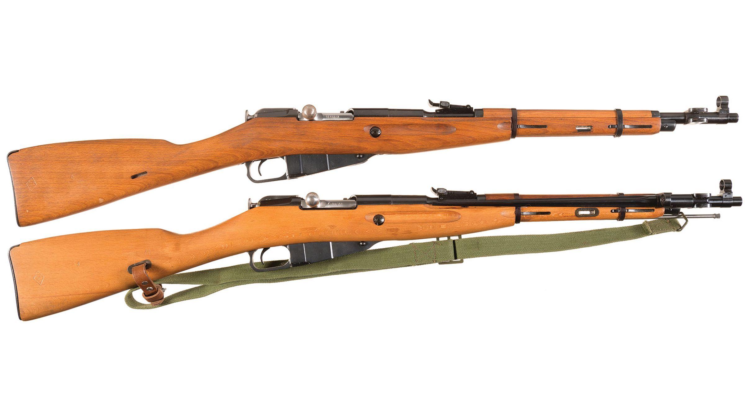 Two Polish M44 Mosin Nagant Bolt Action Carbines