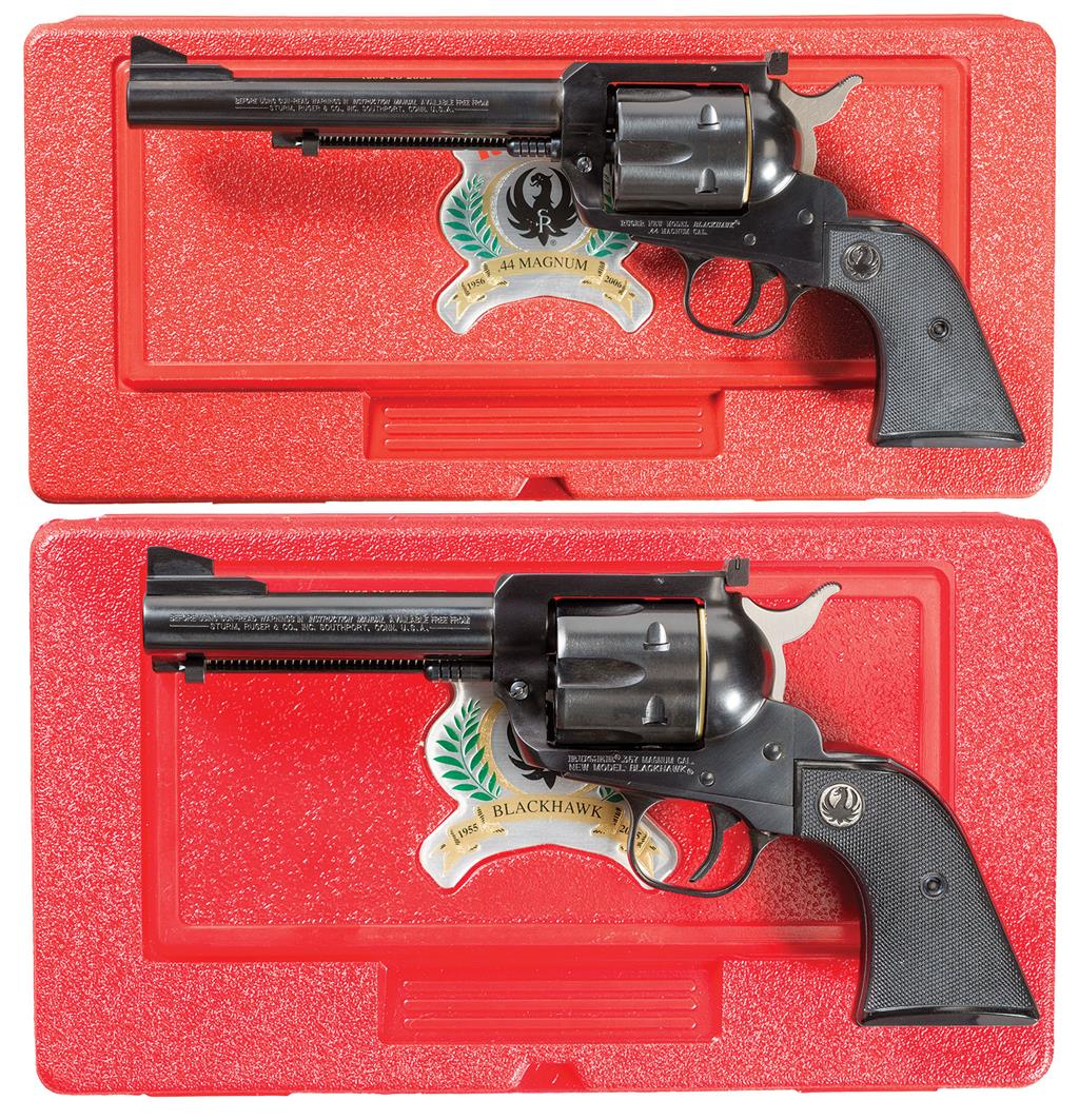 Two Ruger Single Action Revolvers w/ Cases