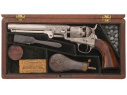 Cased Factory Engraved Colt Model 1849 Pocket Percussion Revolver